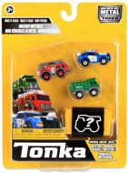Fire Truck / Police Cruiser / Garbage Truck / Mystery Figure | 4 Pack Micro Metals | Tonka