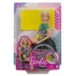 Barbie Fashionistas Doll #165, with Wheelchair & Long Blonde Hair Wearing Tropical Romper, Orange Shoes & Lemon Fanny Pack