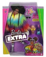 Barbie Extra Doll #1 Afro Hair with Rainbow Coat & Pet Poodle