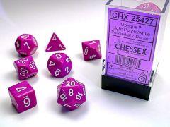Opaque Polyhedral Light Purple/white 7-Die set   Chessex