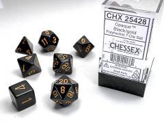 Opaque Polyhedral Black/gold 7-Die set   Chessex