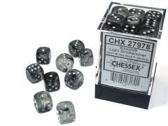 Borealis 12mm d6 Light Smoke/silver Luminary Dice Block (36 dice)