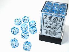 Borealis 12mm d6 Icicle/light blue Luminary Dice Block (36 dice)