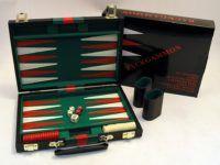 """Black Vinyl Backgammon Set   11"""""""