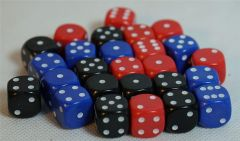 Bag of 26 Dice - D6 Six Sided in RED, BLUE and BLACK 12mm Spot
