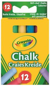 12 Anti Dust Coloured Chalk - Crayola