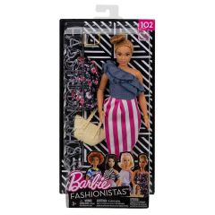 Blue Denim Top Pink & White Stipe Skirt - Barbie Fashionistas Gift Set - 102