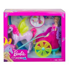 Blonde Hair Princess Doll with Fantasy Horse and Chariot | Dreamtopia | Barbie