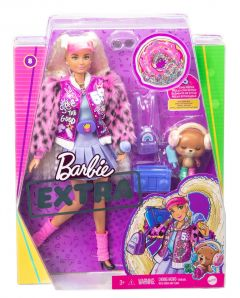 Barbie Extra Doll #8 in Varsity Jacket with Furry Arms & Pet Teddy Bear