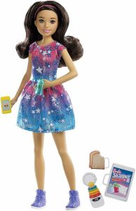 Girl With Blue & Pink Dress Barbie Skipper Babysitters Inc Doll